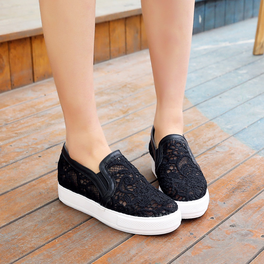 Lace Women Loafers Cutout Platform Shoes