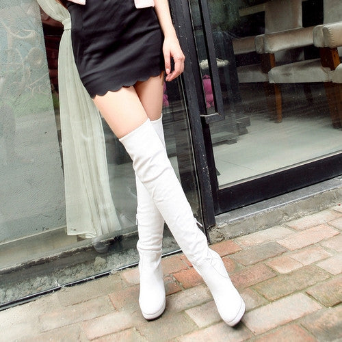 Over the Knee Boots Platform High Heels PU Leather Spike Shoes Woman 3319 3319