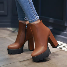 Load image into Gallery viewer, Zipper Ankle Boots High Heels Motorcycle Boots Chunky Heel 7585