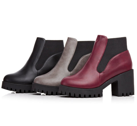 Round Toe Pu Ankle Boots Women Shoes New Arrival