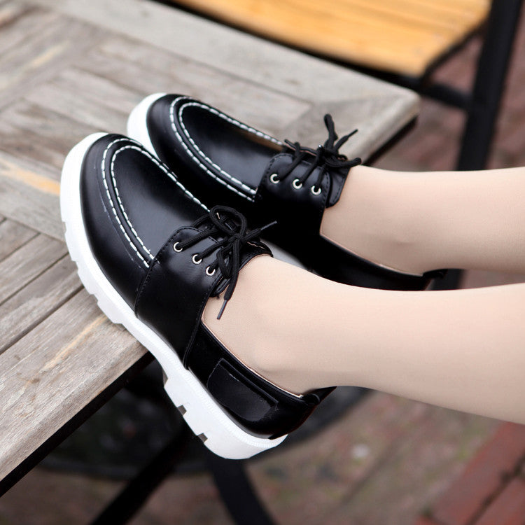 Fashion Lace Up Flats Women Shoes 6455