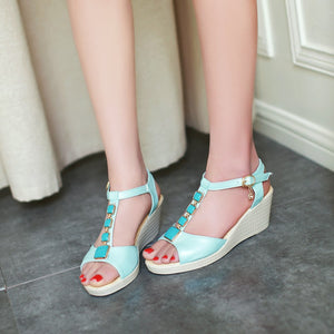 Summer T Straps Wedges Women Sandals Platform Pumps High Heels Shoes 2016 5230