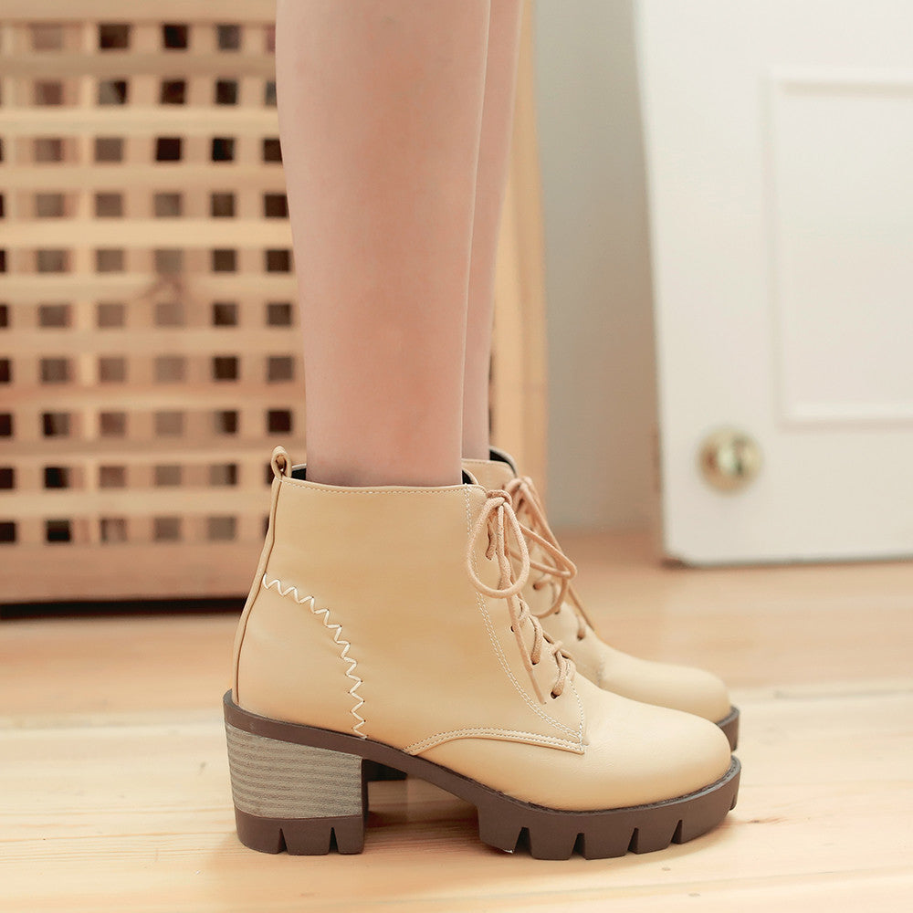 Lace Up Women Ankle Boots Zipper Platform High Heels Shoes Woman 7582