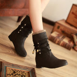 Cross Strap Rhinestone Flats Women Boots Wedge Heel 7454
