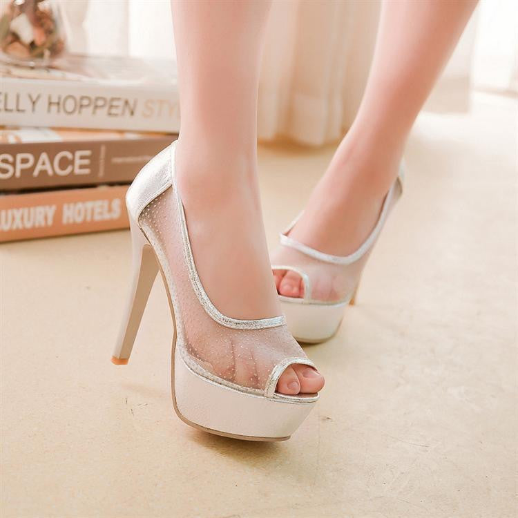 Lace Platform Sandals Peep Toes Mesh Women Pumps High Heels Spike Shoes Woman