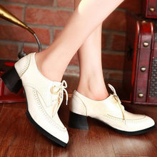 Load image into Gallery viewer, Women Pumps Lace Up Pu Leather Thick Heeled Shoes Woman 3541