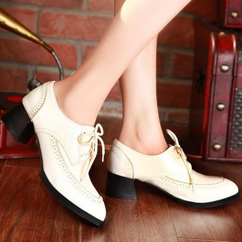Women Pumps Lace Up Pu Leather Thick Heeled Shoes Woman 3541