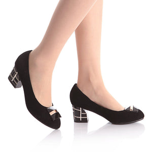 Women Pumps High Heels Thick Heeled Black Shoes Woman 3533