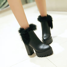 Load image into Gallery viewer, Rabbit Fur Ankle Boots High Heels Women Shoes Fall|Winter 7502