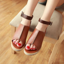Load image into Gallery viewer, Gladiator Sandals Flats Height Increasing Women Peep Toe Shoes Woman 3587