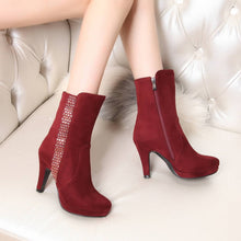 Load image into Gallery viewer, Fur Snow Boots Winter PU High Heels Women Shoes