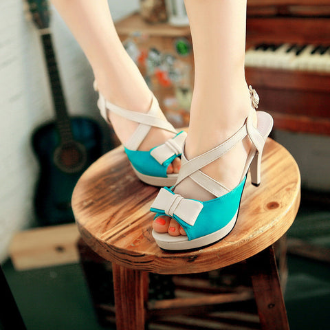 Cross Strap Platform Sandals Bowtie Women Pumps High Heels Shoes Woman