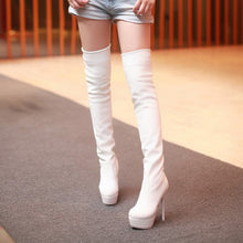 Load image into Gallery viewer, Soft Leather Thigh High Boots Platform Pumps Stiletto Heel 4234