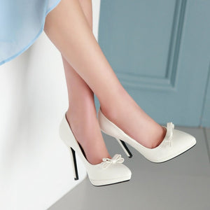 Knot Women Pumps Platform High Heels Pointed Toe Stiletto Shoes Woman