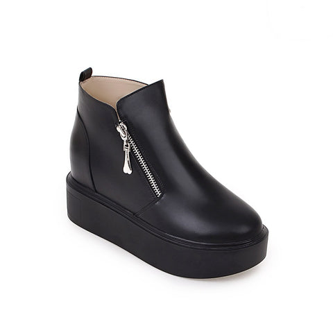 Ankle Boots for Women Platform Wedges Double Zipper Pu Leather Autumn Winter Shoes Woman 9912