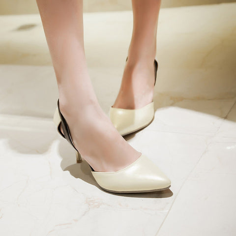 Color Block Pointed Toe Two Piece Stiletto Heel Sandals 2492