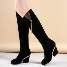 Load image into Gallery viewer, Knee High Boots Metal Tassel Zipper High Heels Women Shoes