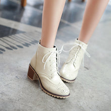 Load image into Gallery viewer, Women Lace Up Oxfords Ankle Boots Chunky Heel Pumps 7691
