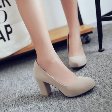 Women Round Toe High Heels Chunky Heel Pumps Dress Shoes 9718