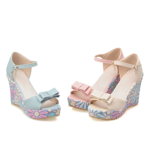 Bow Sandals Wedges Platform Flower Printed High-heeled Shoes Woman