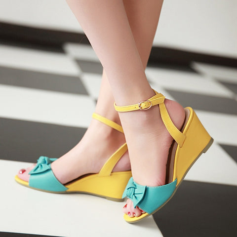 Bowtie Wedges Sandals Women Pu Leather Shoes Woman