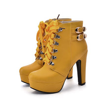 Load image into Gallery viewer, Lace Up Buckle High Heels Platform Ankle Boots Chunky Heel 5711