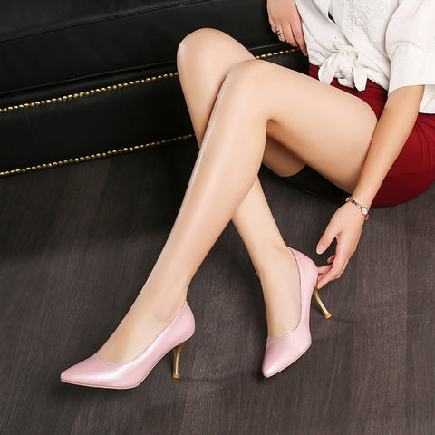 Candy Colors Pointed Toe Gold Heel High Heels Dress Shoes 9018