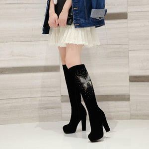 Black Women Knee High Boots Platform Rhinestone High Heels Shoes Woman 2016 3372