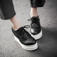 Load image into Gallery viewer, Women Wedges Tassel Lace Up Platform Shoes