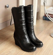 Load image into Gallery viewer, Zipper Pu Leather Wedges Boots Women 3102