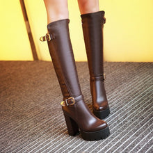 Load image into Gallery viewer, Round Toe Buckle Knee High Boots Platform High Heels Shoes Woman