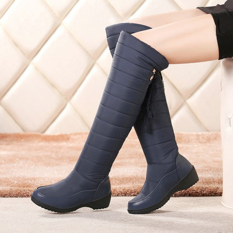 Down Platform Wedge Snow Boots Women Knee High Boots Shoes 9667