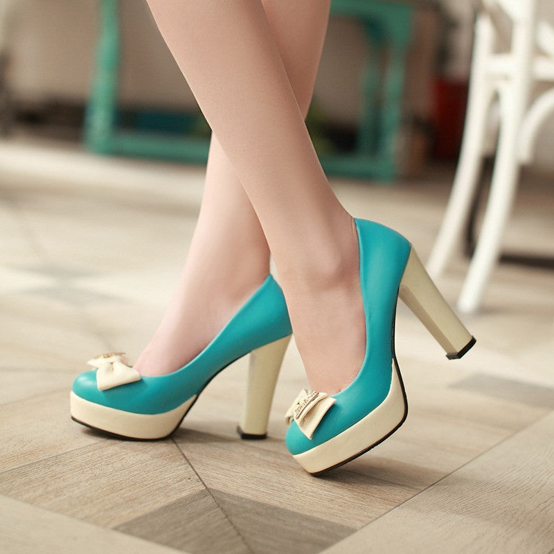 Bow Women Pumps Platform High Heels Dress Shoes 5961
