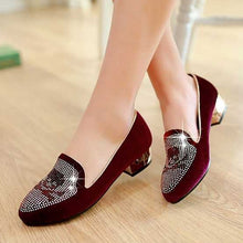 Load image into Gallery viewer, Rhinestone Pumps Low Heeled Shoes Woman