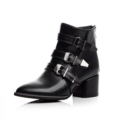Women Pointed Toe Buckle Motorcycle Boots Ankle Boots Chunky Heel 1253