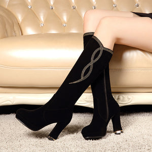 Embossed Black Knee High Boots Platform Zipper High Heels Shoes Woman 3326