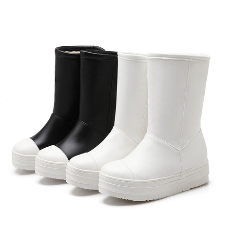 Black and White Boots Women Platform Shoes Fall|Winter 4068