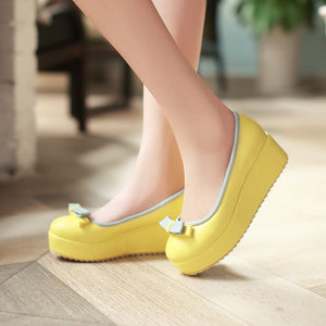 Bow Women Wedges Platform Shoes 2367