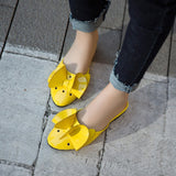 Covered Toe Patent Leather Flower Cutouts Shoes Women Flats  2512