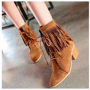 Tassel Lace Up Ankle Boots High Heels Shoes Woman