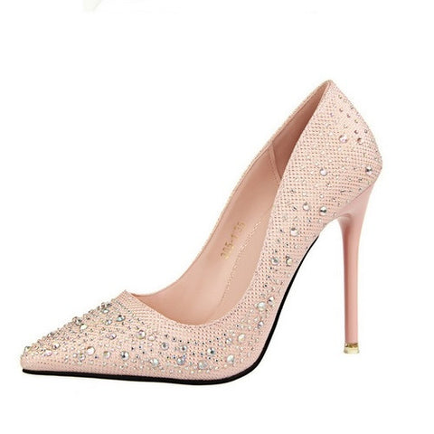 Wedding Pointed Toe Women Pumps High Heels Stiletto Heel Crystal Shoes Woman