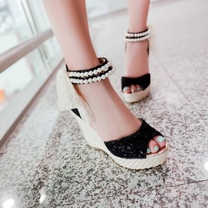 Beads Platform Sandals Peep Toe Lace Women Pumps High Heels Shoes Woman 3442