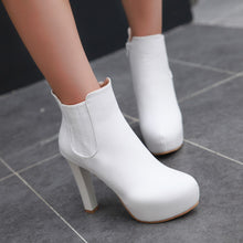 Load image into Gallery viewer, Ankle Boots for Women Platform High Heels Round Toe Zipper Autumn Winter Shoes Woman 6246