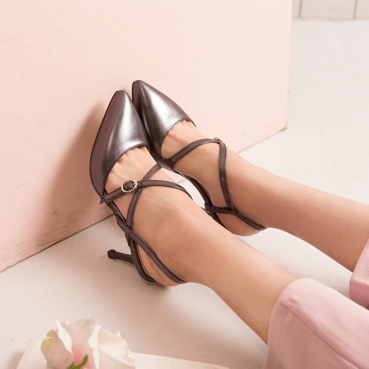 Pointed Toe Cross Straps Women Sandals Spike Heel Wedding Shoes 8691