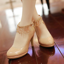 Load image into Gallery viewer, Beads Women Pumps Platform Ankle Straps High Heels Bridal Shoes Woman