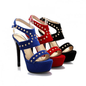Studded Platform Sandals Women Cross Strap Platform Pumps High Heels Stiletto Heel Shoes Woman