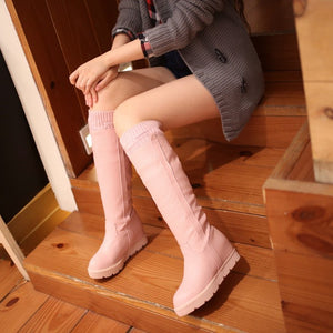 Wool Knee High Boots Winter Platform Shoes Woman
