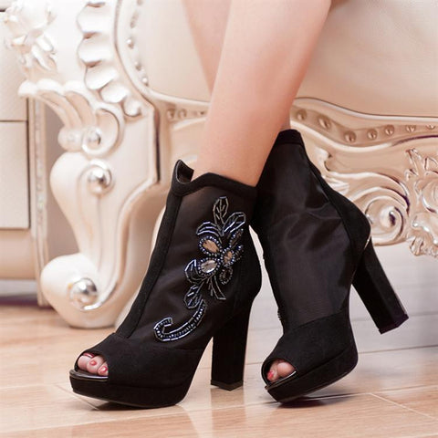 Black Summer Platform Boots Lace Rhinestone Peep Toes Zipper High Heels Shoes Woman