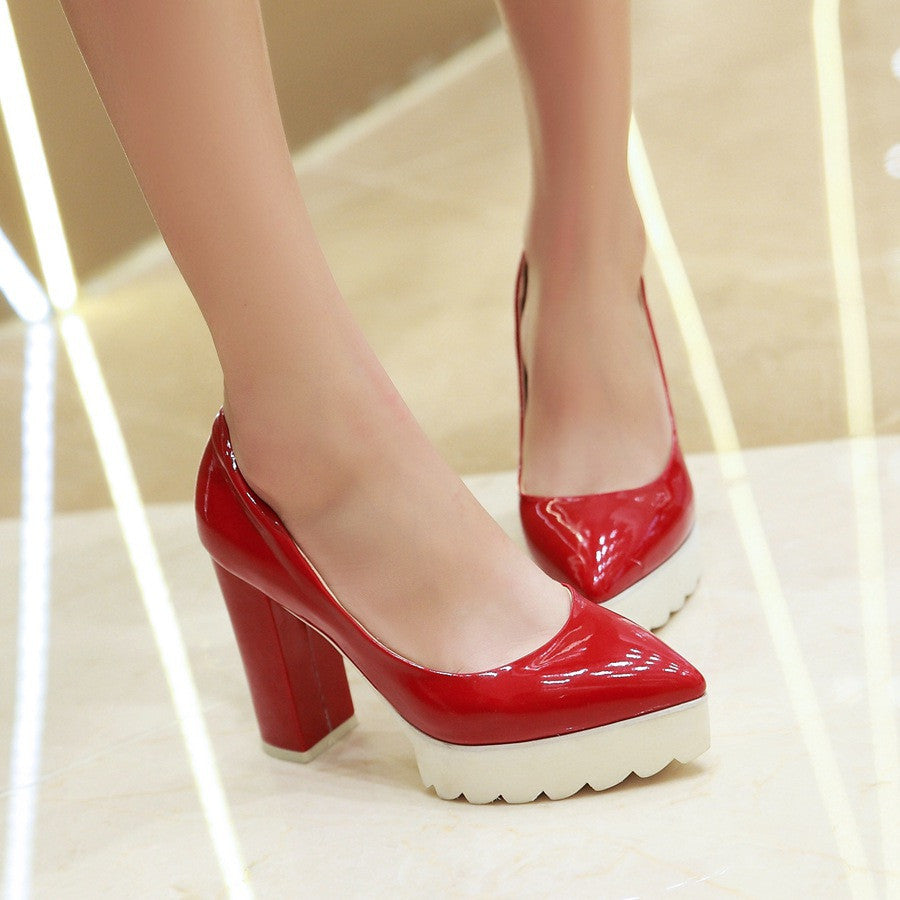 Pointed Toe Women Platform Pumps High Heels Shoes Woman