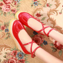 Load image into Gallery viewer, Women Wedges Cross Strap High Heels Pumps Patent Leather Platform Shoes 3666